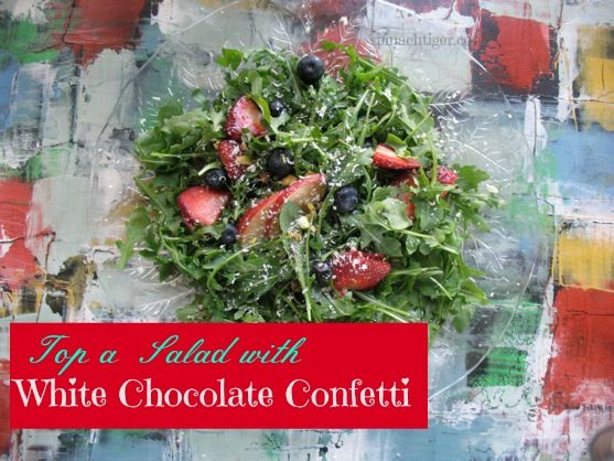 Arugula Salad with White Chocolate Confetti by Angela Roberts