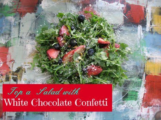 Inauguration Salad – Arugula,  Fruit and a Confetti of White Chocolate