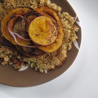 Butternut Squash Stacks on Crispy Quinoa Pancake, Gluten Free