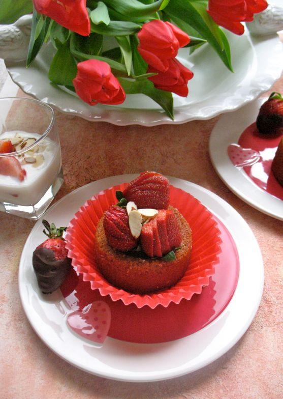 Strawberry Pecan Short Cake with Vanilla Bean Yogurt