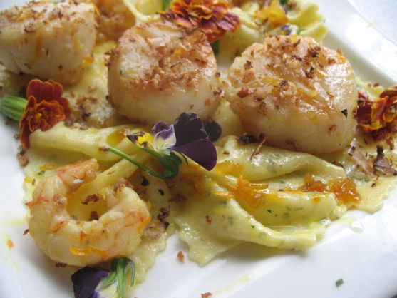 Scallops with Orange Vodka Shallot Sauce  with Homemade Citrus Tarragon Pasta