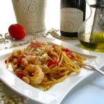 Bucatini with Shrimp and Roasted Tomato