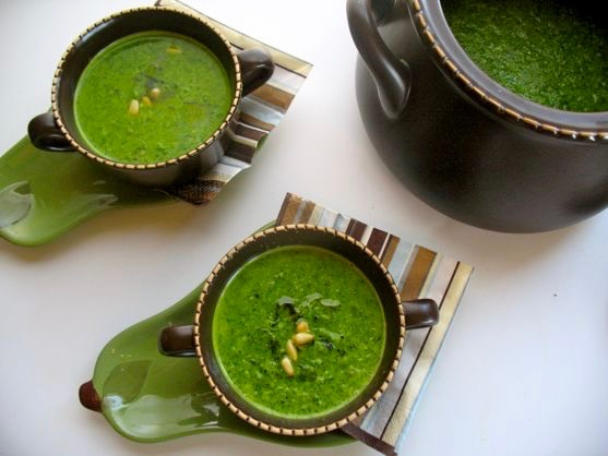 Broccoli Basil Soup with Pecorino and Pine Nuts by Spinach TIger