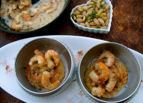 Puff Pastry with Shrimp and Mushrooms and a Side of Cannellini Beans