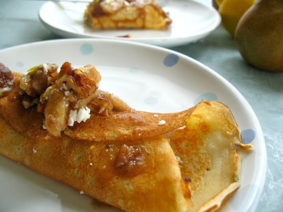 Crepes with Pears, Walnuts, and Feta Cheese
