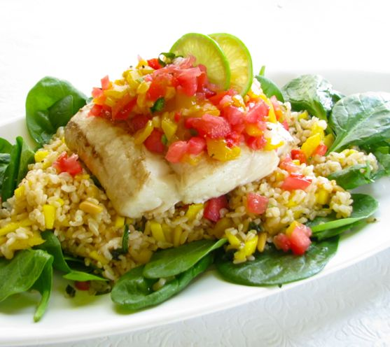 Grilled Halibut with Tomato Mango Salsa