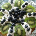 Rum Savarin with Kiwi and Blueberries