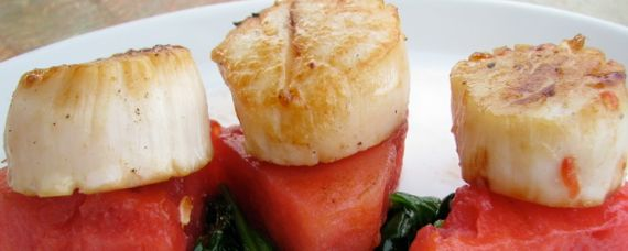 Seared Scallops over Grilled Watermelon