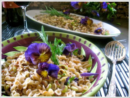 Recipe for pasta purple hull peas in red wine risotto style