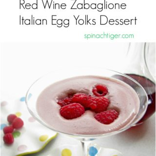Cold Zabaglione with Red Wine from Spinach Tiger