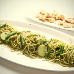 Spaghetti and Pesto, Green Beans, Potatoes