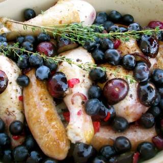 Chicken and Sausage with Muscadine Grapes