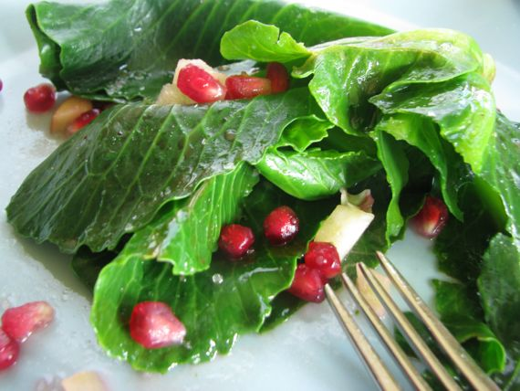 Cabbage Sprouts  with Rosé Vinaigrette, Pomegranate and Apple and Cooking Red to Remember
