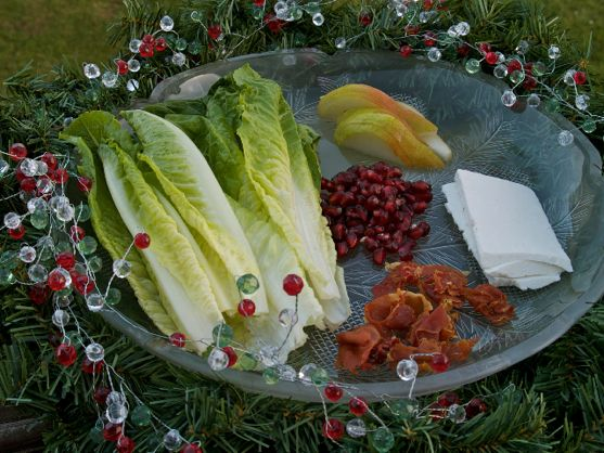 Holiday Salad of Romaine Lettuce, Pear, and Pomegranate