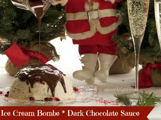Ice Cream Bombe with Dark Chocolate Sauce by Angela Roberts