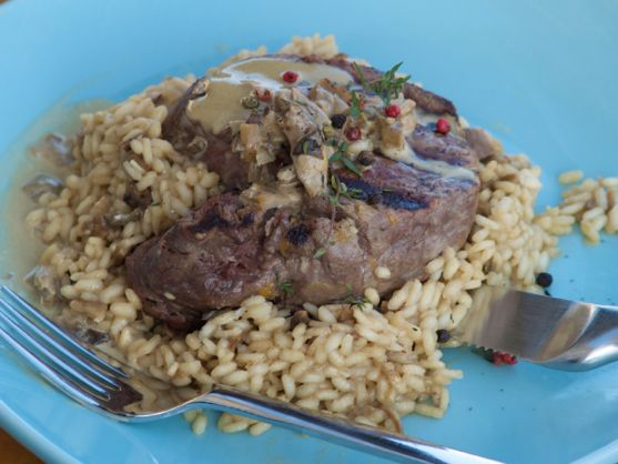 Risotto with Porcini Mushrooms, Filet Mignon with Mushroom Champagne Sauce