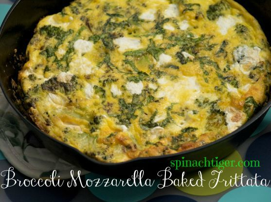 Cast Iron Broccoli Basil Mozzarella Frittata
