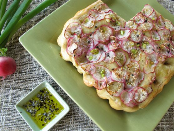 Fusion Focaccia with Radishes and Nori Sea Salt