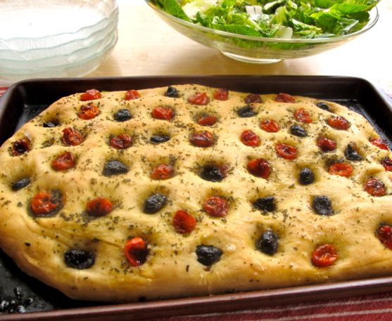 Rosemary Focaccia with Olives, Roasted Tomatoes