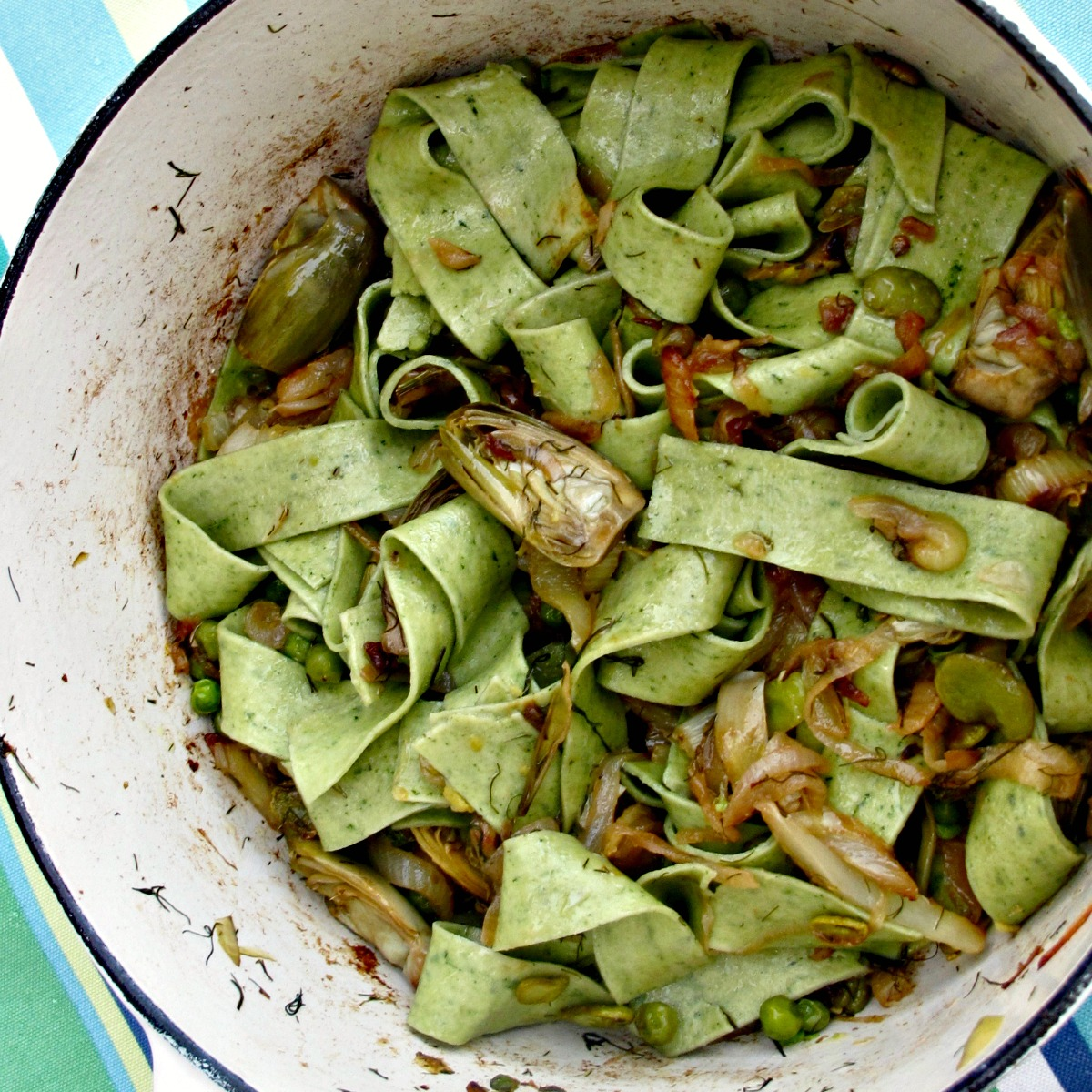 La Fritteda with Pasta, Artichokes, Peas, Fava Beans from Spinach Tiger #pasta