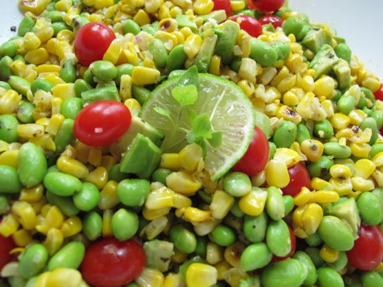 Modern Succotash: Corn, Edamame,Tomato Avocado