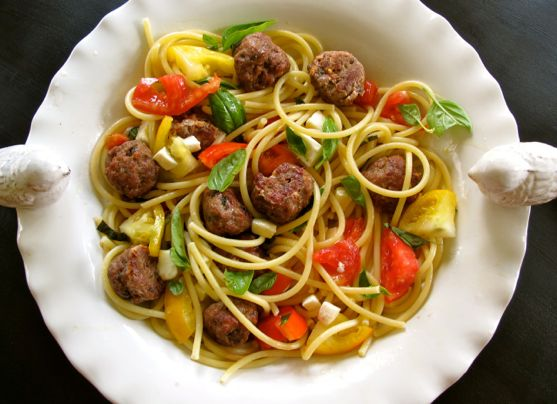 Summer Garden Spaghetti and Meatballs