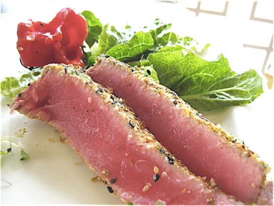 Seared Tuna Encrusted with Dried Wasabi Peas from Mr. Spinach Tiger