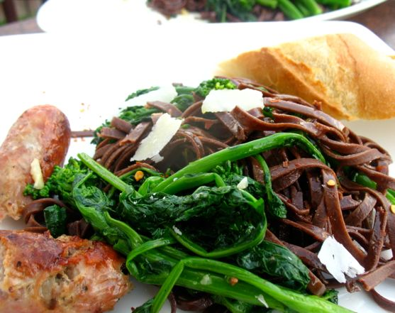 Chocolate Pasta with Broccoli Rabe