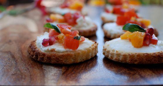 Honey Goat Cheese Crostini with Tomato Orange Basil Salsa and Crispy Prosciutto