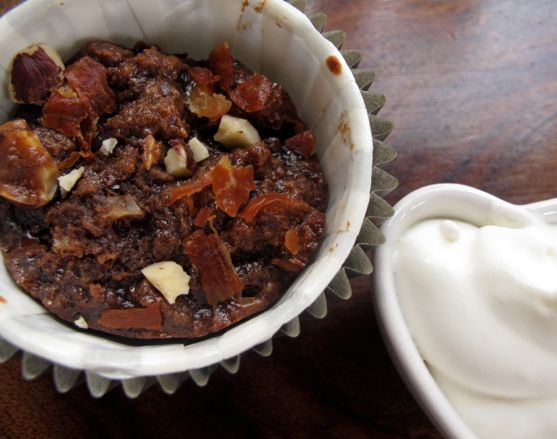 Chocolate Hazelnut Bread Pudding with Crispy Prosciutto