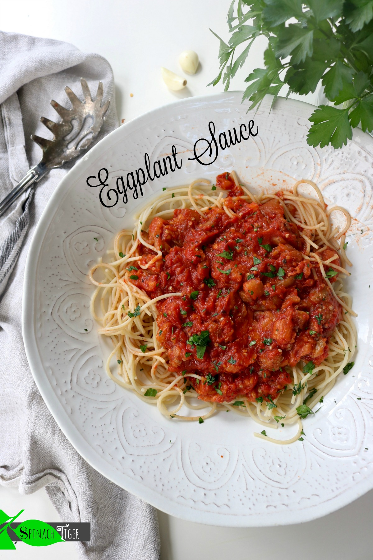Marcella Hazan's spicy eggplant sauce with spaghetti from Spinach Tiger
