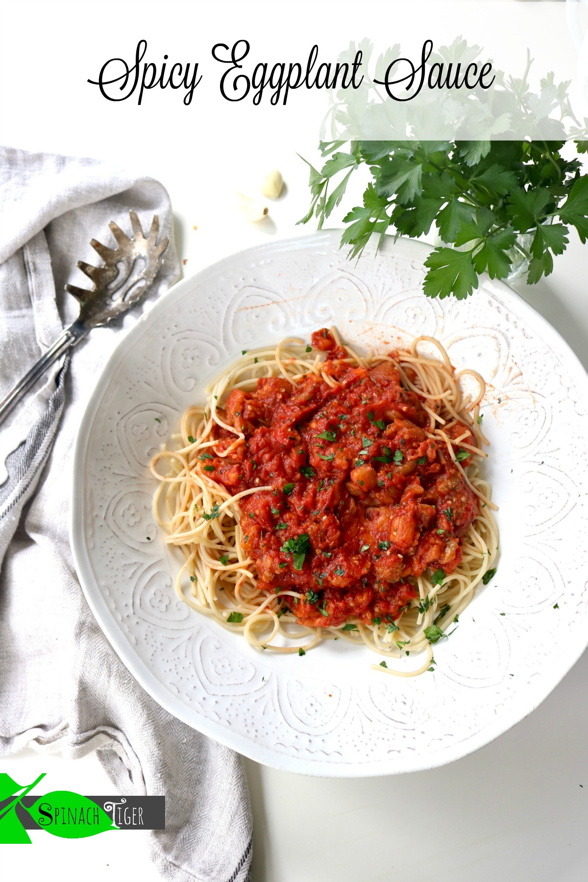 Marcella Hazan Spaghetti with Spicy Eggplant Sauce from Spinach Tiger