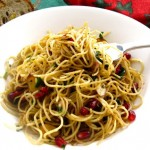 Angel Hair with Toasted Almonds and Pomegranate