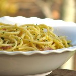 Spaghetti with eggs, bacon and breadcrumbs by Angela Roberts