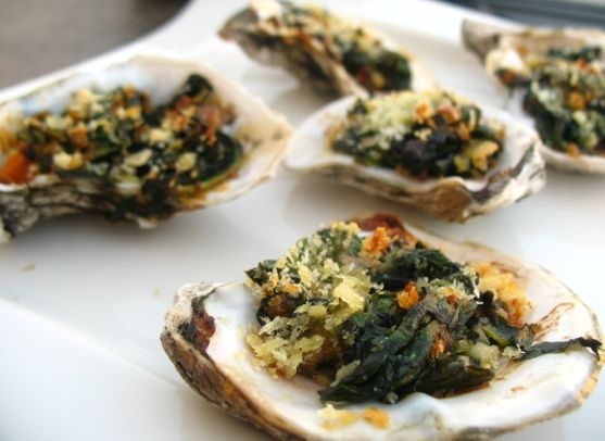 Baked Oysters with Spinach by Angela Roberts