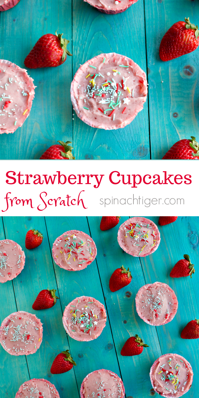Sprinkles Strawberry Cupcake Recipe Made from Scratch with no food coloring or gelatin mixes, adapted by Spinach Tiger