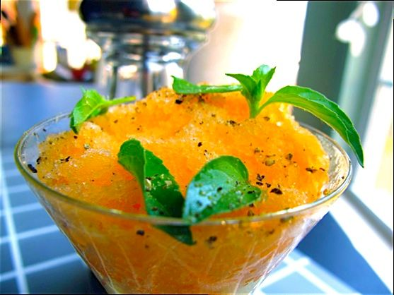 No Sugar added Melon Sorbet with Lime Basil and Fresh Black Pepper