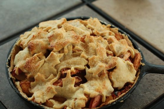 autumn apple pie baked in cast iron pan by Angela Roberts