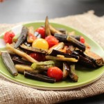 Roasted Okra, Eggplant and Cherry Tomatoes