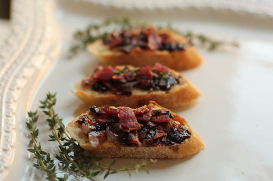 Blackberry Shallot Jam Crostini with Crispy Prosciutto