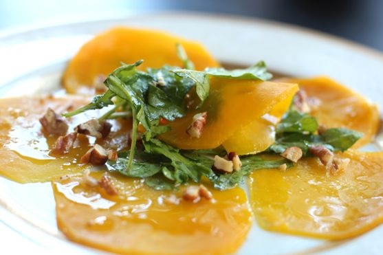 Post image for Roasted Golden Beet Carpaccio with Orange Walnut Vinaigrette