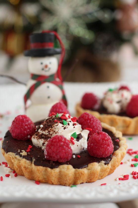 Salty Chocolate Ganache Tart with Raspberries, Hazelnut Whipped Cream