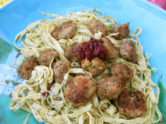 Meatballs with Blueberry Compote over Poppy Seed Pasta