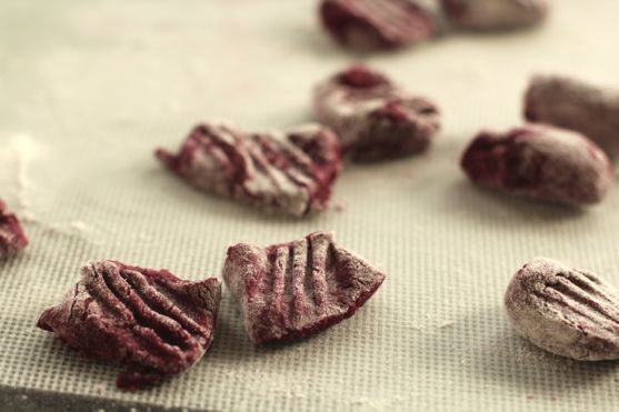 Roasted Beet Pasta with Beet Gnocchi, Cream Cheese, Poppy Seeds