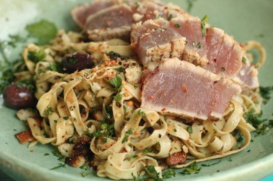 Hazelnut Crusted Ahi Tuna with Tagliatelle in Olive Anchovy Sauce