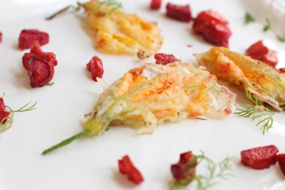 Squash Blossoms with Roasted Rhubarb from Spinach Tiger