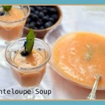 Chilled Cantaloupe Soup, Blackberry Drizzle, Basil