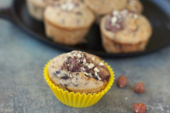 Chocolate Chunk Nutella Muffins from Spinach Tiger
