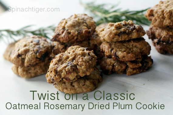 Oatmeal Cookies with Dried Plums and Rosemary