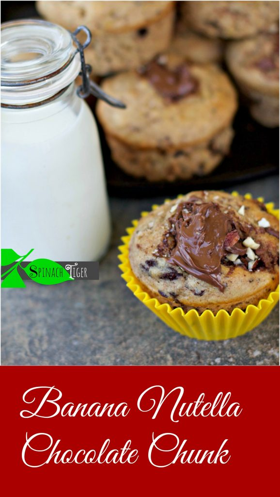 Best Banana Chocolate Chunk Nutella Muffins from Spinach Tiger